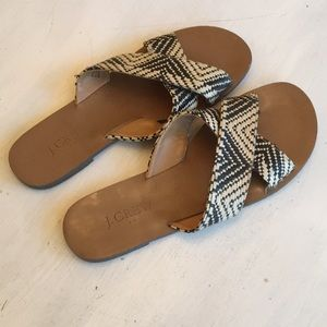 J. Crew Black and Tan woven sandals